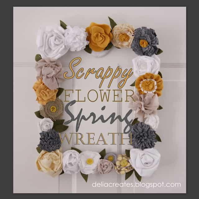 Fabric flower Scrappy Spring Wreath by Delia Creates.