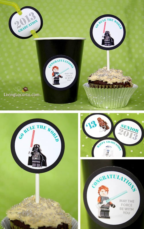 Star Wars Legos Graduation - Free Party Printables  - Gift Tags - Living Locurto