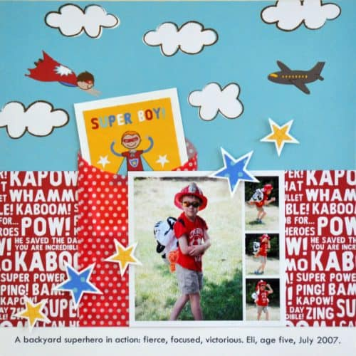 CUTE Superhero layout with Party with Amy Locurto - Scrapbook & Party Designs
