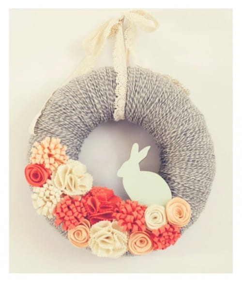 Beautiful bunny wreath by Lindsey at Very Truly Me.