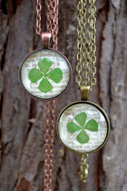 four leaf clover jewelry necklace how to project st. patrick