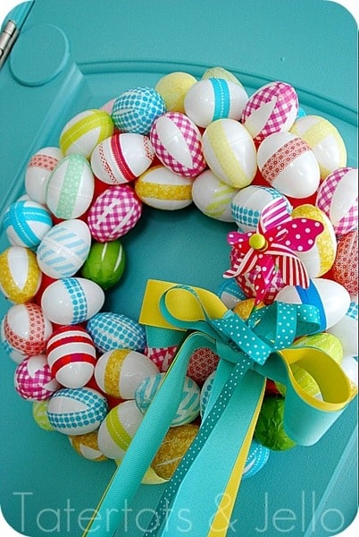 Washi Tape Easter Egg Spring Wreath by Jen at Tatertots & Jello