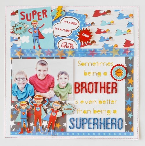 CUTE Superhero layout with Party with Amy Locurto - Scrapbook & Party Designs  | Super hero Party IDeas