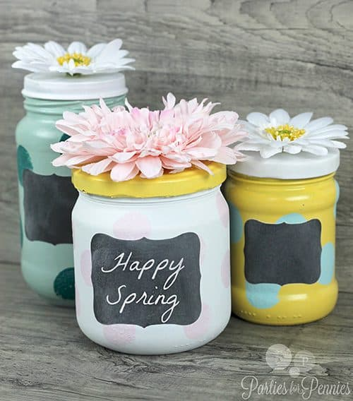 Easy painted mason jar craft - 50 Mason Jar crafts and recipes