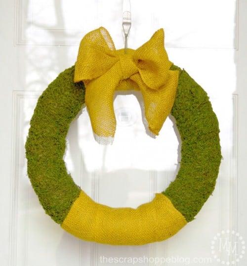 Burlap Moss Spring Wreath by the Scrap Shoppe | Living Locurto
