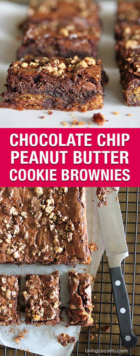 Chocolate Chip Peanut Butter Cookie Brownies are a combination of peanut butter chocolate chip cookies mixed with brownies topped with Reese's! Quick, Easy and SO GOOD! Easy brownie recipe.
