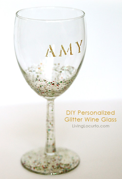 Diy glitter wine glass easy craft tutorial How to make wine glasses sparkle