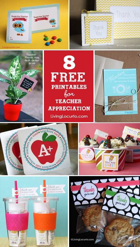 graphic regarding Free Printable Teacher Appreciation Tags known as 10 Lovely Trainer Appreciation Presents with Cost-free Printables