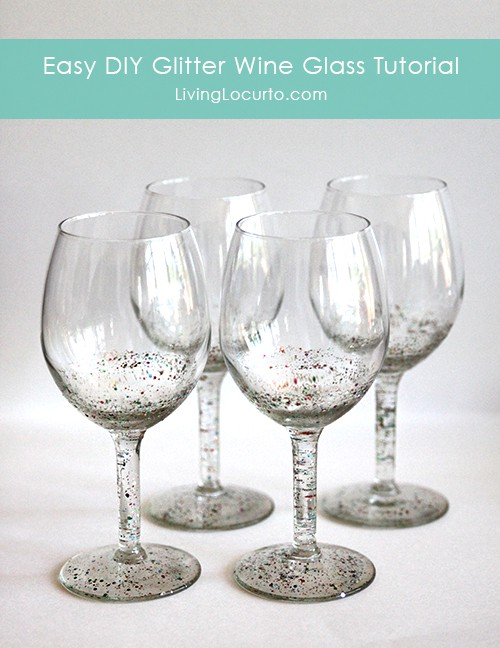 How to make a DIY Glitter Wine Glass - Easy Craft Tutorial by Amy Locurto LivingLocurto.com