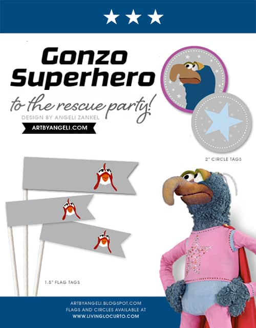 Superhero Gonzo Muppet Birthday Party Ideas and Free Printables. Design by Angeli via LivingLocurto.com