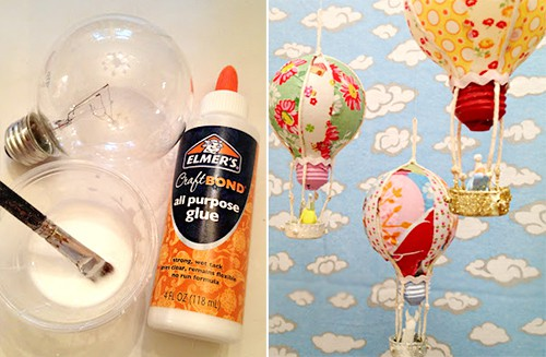 Hot Air Balloon Craft from Lightbulbs by Rook No 17