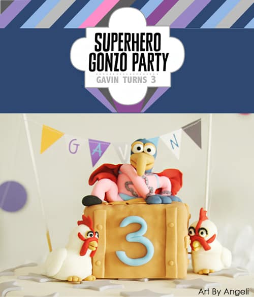 So cute! Superhero Gonzo Muppet Birthday Party with Free Printables! Design by Angeli via LivingLocurto.com