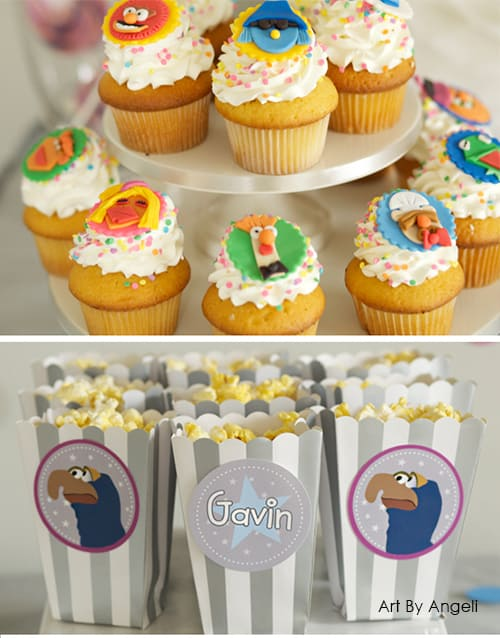 Cute Muppet Cupcakes! Superhero Gonzo Muppet Birthday Party with Free Printables. Design by Angeli via LivingLocurto.com