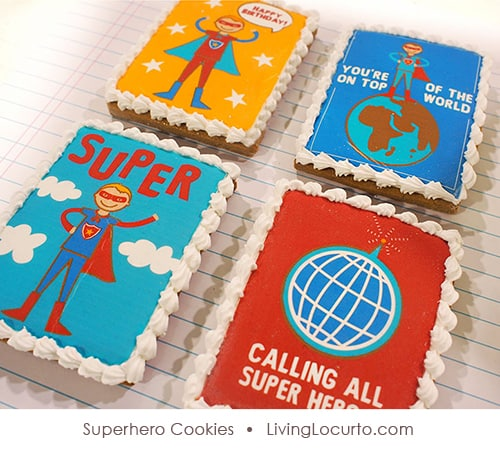 Superhero Birthday Party Cookies by Sweetopia for LivingLocurto.com