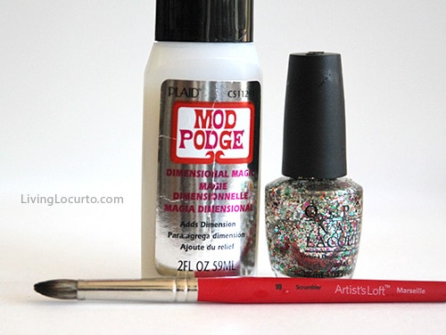DIY Glitter Wine Glass with Finger Nail Polish - Easy Craft Tutorial by Amy Locurto LivingLocurto.com