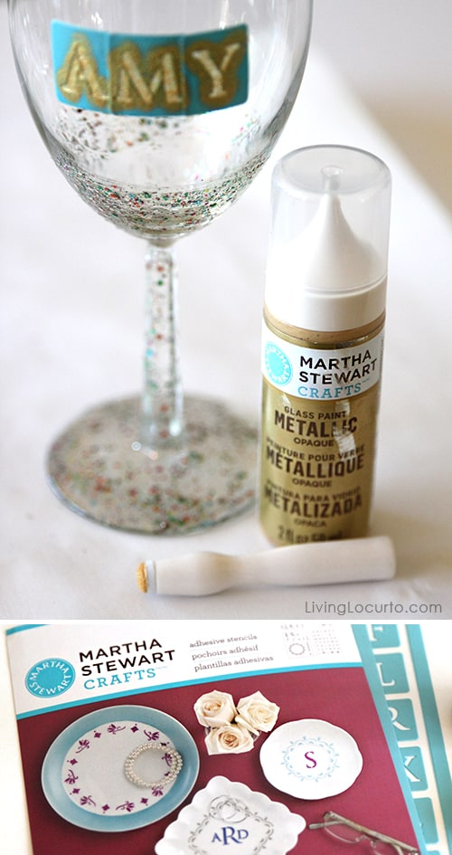 DIY Personalized Glitter Wine Glass - Super Easy Craft Tutorial by Amy Locurto LivingLocurto.com