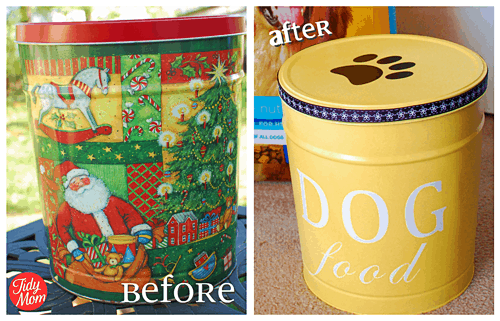 Popcorn Tin turned into a Dog Food Container by Tidymom