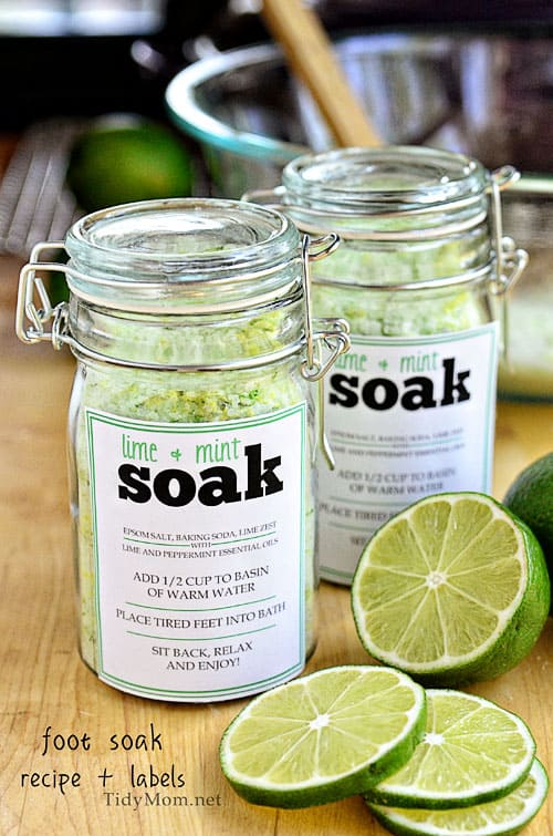 6 DIY Gift Ideas & Crafts! Lime & Mint Foot Soak Recipe by Tidy Mom