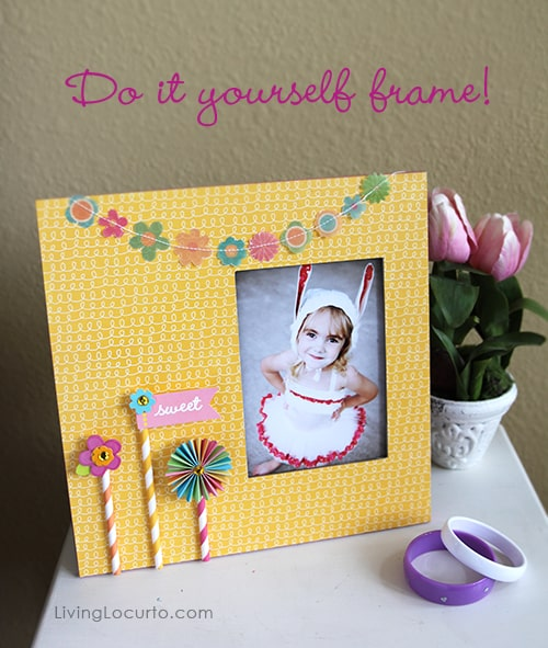 DIY Frame made with Party with Amy Locurto from Pebbles Scrapbook Collection. DIY Gift, Craft Tutorial, Paper Garland
