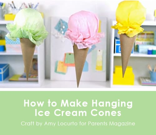 Hanging Ice Cream Cone Craft.  Party Ideas {Parents Magazine Feature} LivingLocurto.com