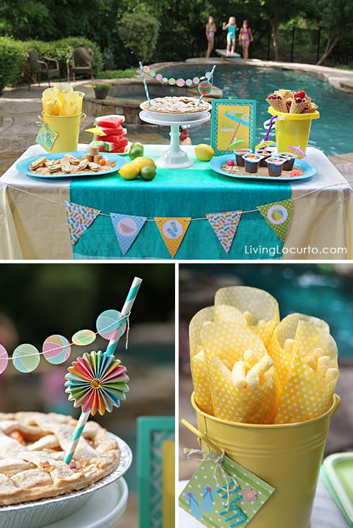 Pool Party Ideas Kids a joint summer birthday pool party I Love The Cute Mini Banners In The Party With Amy Locurto Pool Collection And Of Course I Can Never Get Enough Of The Favor Bags