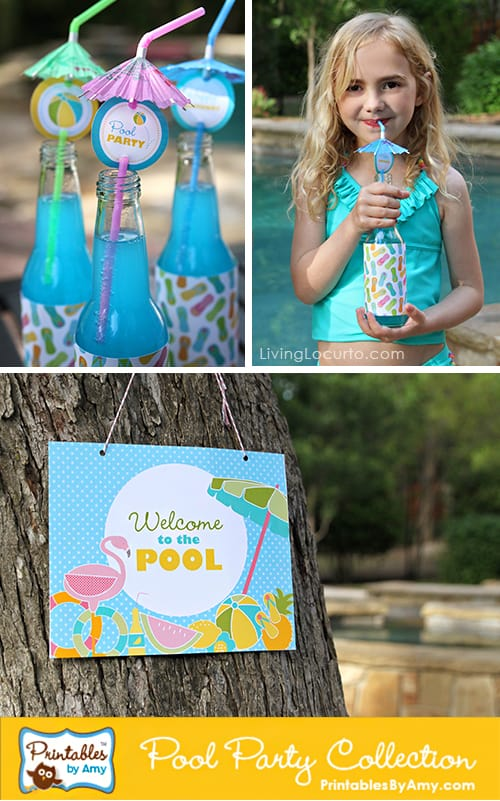 Printable Pool Party Collection & Fun Summer Party Ideas! LivingLocurto.com
