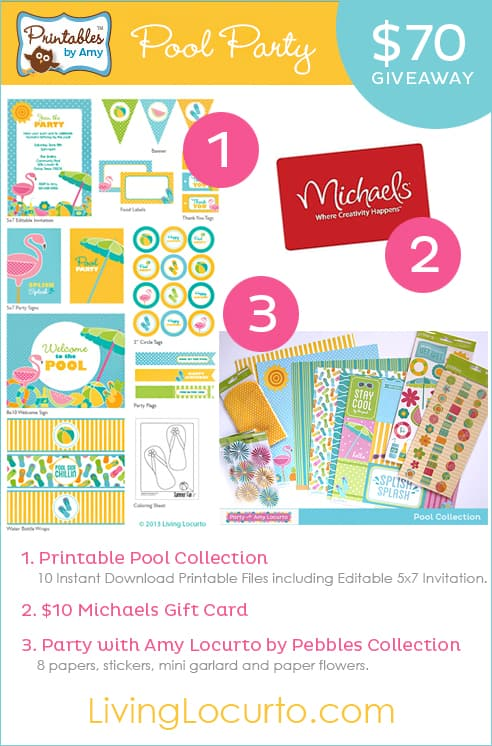 Pool Party Collection Giveaway | Party with Amy Locurto | Printable Party Designs