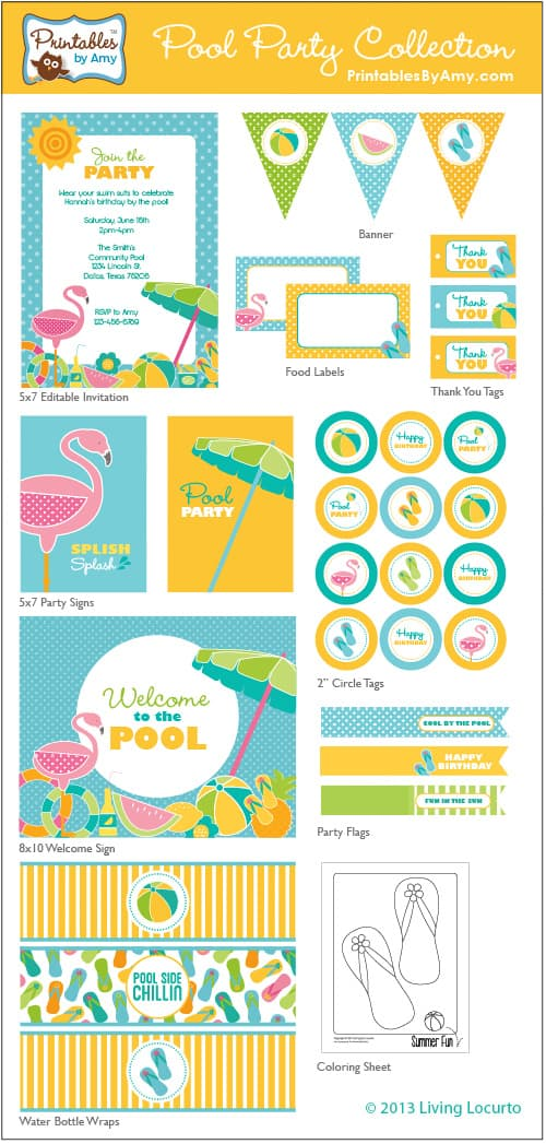 Fun Pool Party Printable Collection by Amy Locurto!  PrintablesByAmy.com