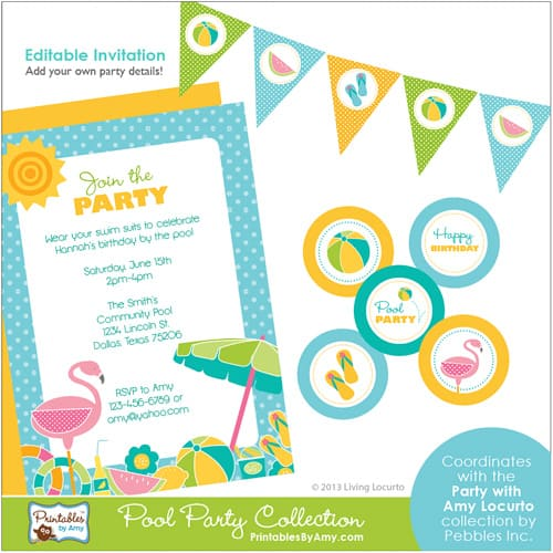 Pool Party Ideas - Summer fun party printables. Invitations, banners, cupcake toppers for a pool party.