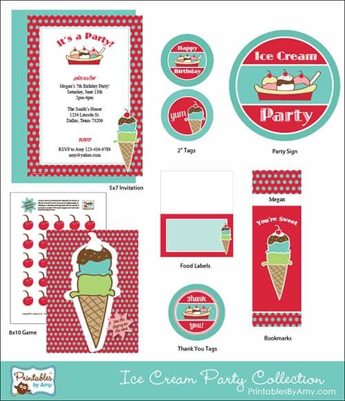 Ice Cream Party Printable Collection PrintablesByAmy.com