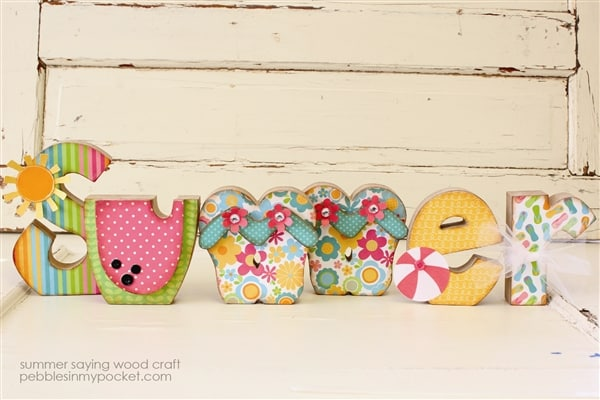 Summer Wood Craft   Using Party With Amy Locurto Pool Party Collection By  Pebbles