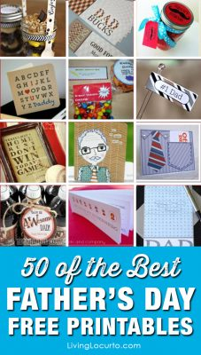 50 of the best Father's Day Free Printables! Find great DIY gift ideas, cards and tags for dad. Fun designs and homemade gift ideas for men. #fathersday #dad #gifts #father #printables #freeprintables #livinglocurto #giftideas