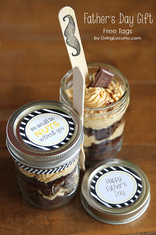 Father's Day Gift Idea! Chocolate Dessert in a Jar with Free Printables by LivingLocurto.com