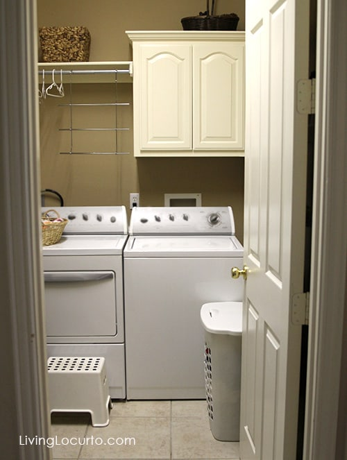 Tour a small laundry room. See how to turn a tiny drab space in a home into a place to enjoy. LivingLocurto.com