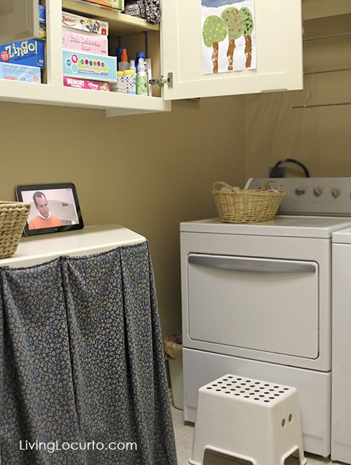 Tour a small laundry room. See how to turn a tiny drab space of a home into a place to enjoy. LivingLocurto.com