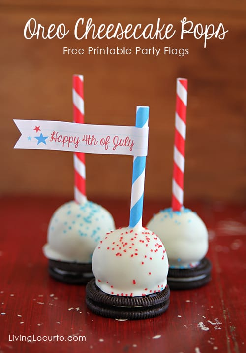 Oreo Cheesecake Pops with Free Party Printables by LivingLocurto.com