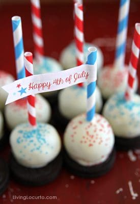 Oreo Cake Balls with 4th of July Free Party Printables by Living Locurto