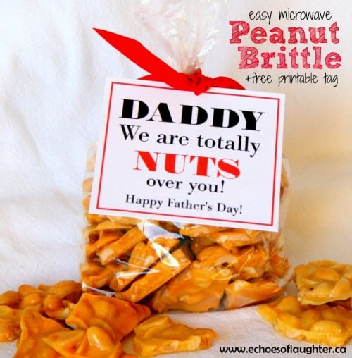 Homemade Peanut Brittle and a Free Printable from Echoes of Laughter - Fathers Day DIY Ideas for Living Creative Thursday on LivingLocurto.com #livingcreative