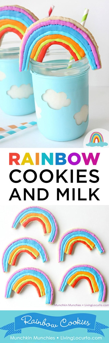 Easy Rainbow Cookies and cloud mason jar craft tutorial. Adorable fun food recipe idea for a rainbow party, birthday or St. Patrick's Day. Pretty sugar cookies!