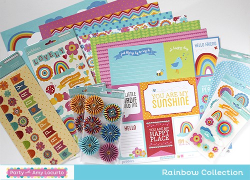 Party with Amy Locurto Rainbow Party Collection - Scrapbook Paper and Stickers