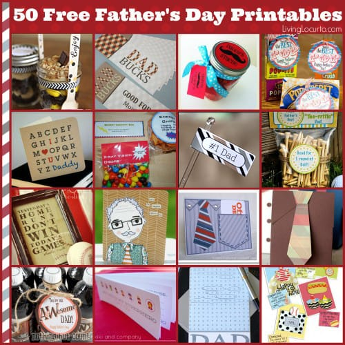 50 Free Father's Day Printables. Celebrate Dad with these easy Father's Day Gifts! Get free printables, recipes, crafts and simple homemade last minute gift ideas for men.