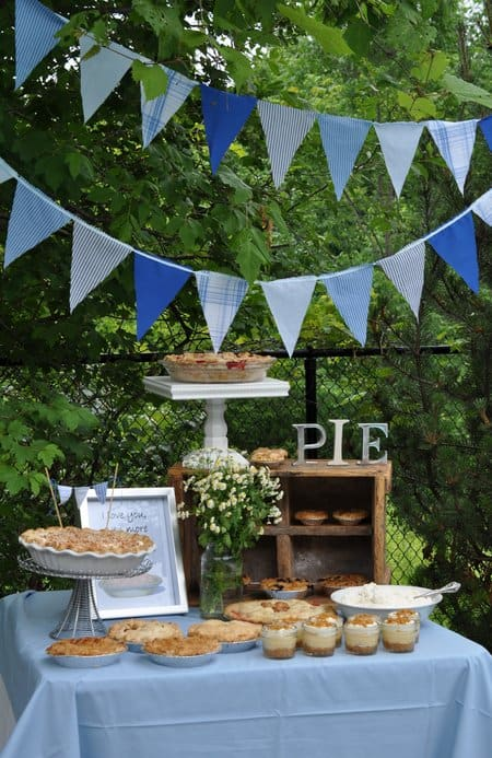 Father's Day Pie Stand Buffet from Life is Party  - Fathers Day DIY Ideas for Living Creative Thursday on LivingLocurto.com #livingcreative