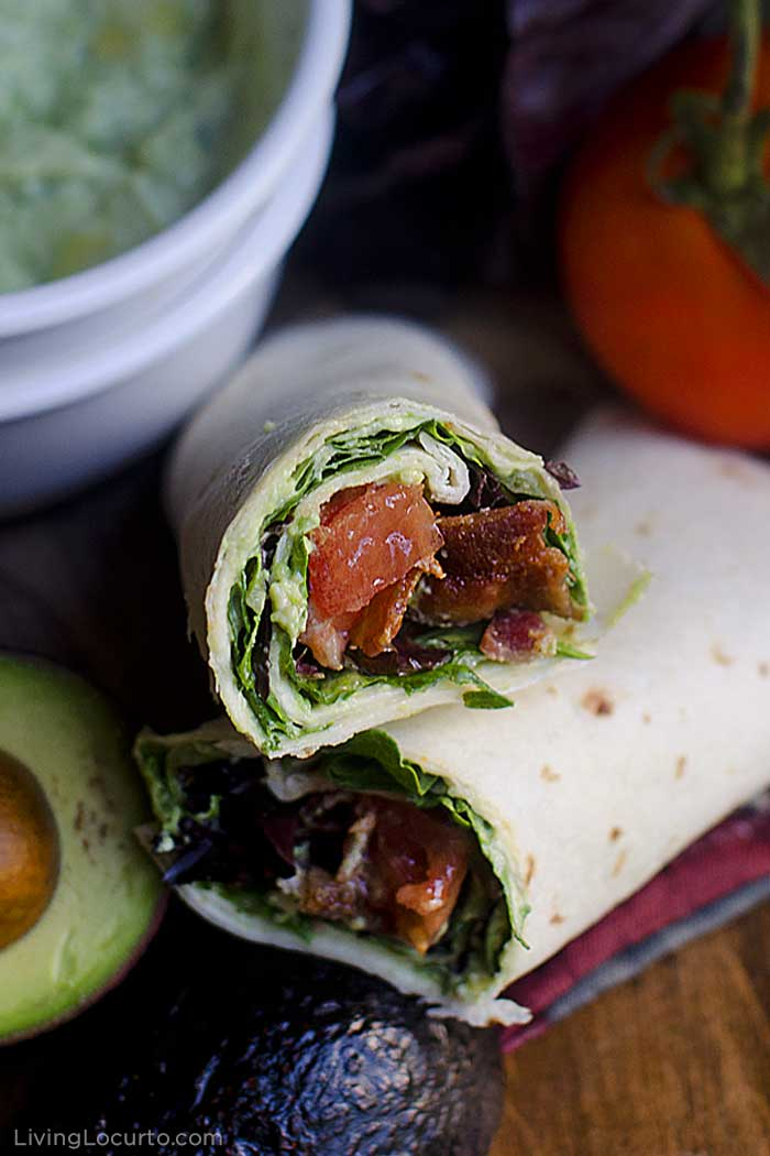 BLT wrap with easy homemade guacamole recipe. Bacon, lettuce and tomato wraps are a delicious idea for lunch or a quick dinner.