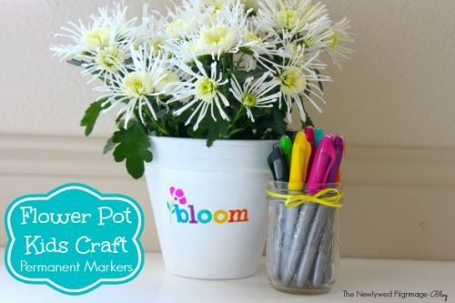 Kids Craft Ideas: Permanent Marker Flower Pot Kid Craft by the Newlywed Pligrimage for #LivingCreative Thursday at Living Locurto
