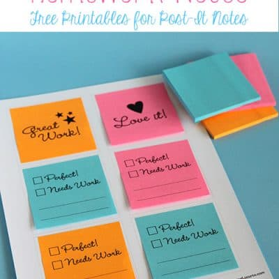 Print on Post-It Notes – Free Printables for School Homework
