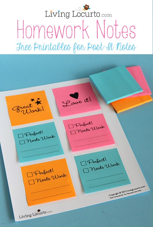 How to Print on Post-It Notes with Cute Free Printables for School Homework. LivingLocurto.com