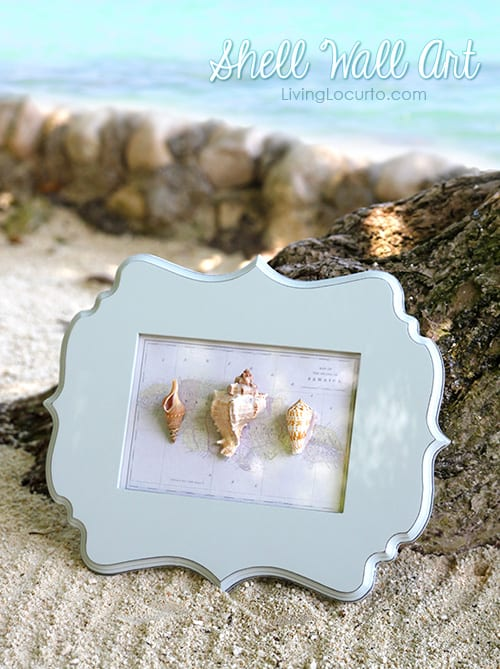 How to make easy wall art with shells from your beach vacation. LivingLocurto.com