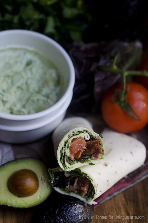 Bacon, Lettuce and Tomato Wrap with Easy Homemade Guacamole. By Divian Connor for LivingLocurto.com