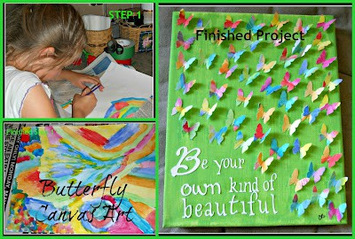 Kids Craft Ideas: Butterfly Canvas Collage by Crazylou Creations for #LivingCreative Thursday at Living Locurto