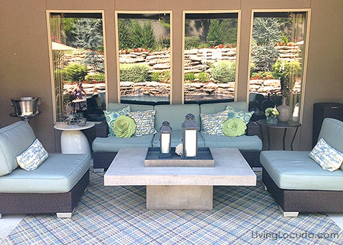 Love this outdoor patio! Get great decorating ideas from this gorgeous home. LivingLocurto.com
